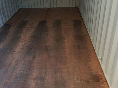 wood floor interior of storage container