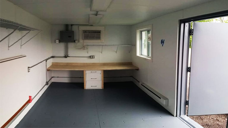 inside of mobile office container that includes popular features