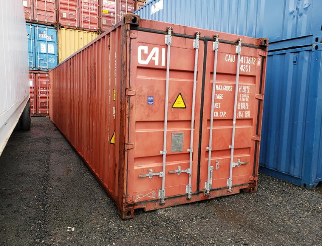 shipping container before paint