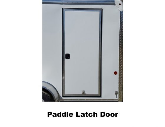 paddle latch door on disaster relief trailer